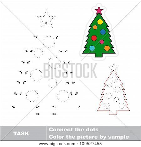 New year tree to be traced. Vector numbers game.