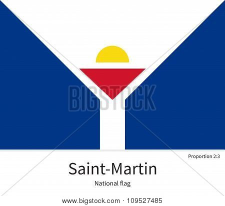 National flag of Saint-Martin with correct proportions, element, colors
