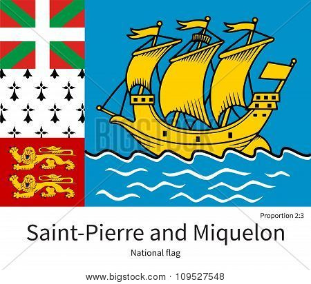 National flag of Saint-Pierre and Miquelon with correct proportions, element, colors