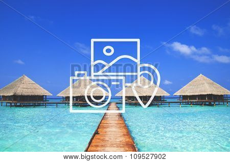Camera Checking Trip Vacation Tourism Photo Concept