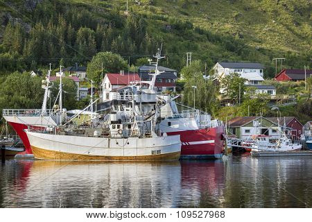 Fishing Boats In Small Harbor, Norway