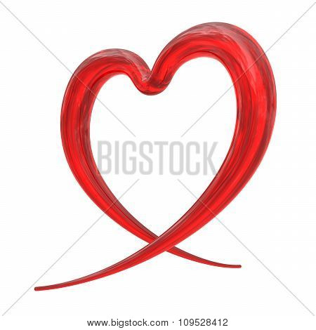 Abstract Red Heart From Glass