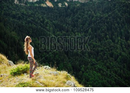 Woman Stand At The End Of Earth In Fascinating Landscape