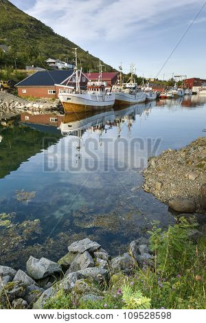 Small Fishing Harbor On Lofoten Islands
