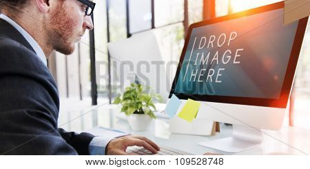 Businessman Computer Technology Working Copy Space Concept