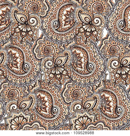 Decorative ornate repeating pattern. Ornamental floral background with paisley