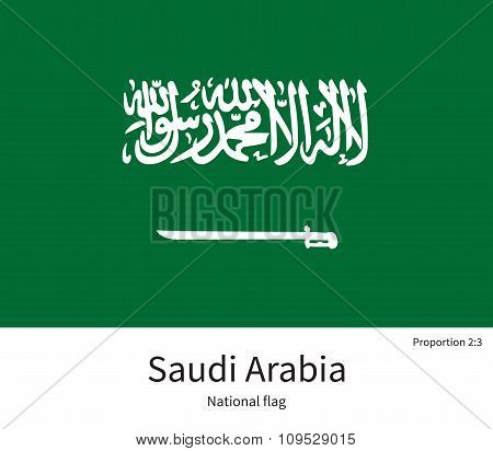 National flag of Saudi Arabia with correct proportions, element, colors