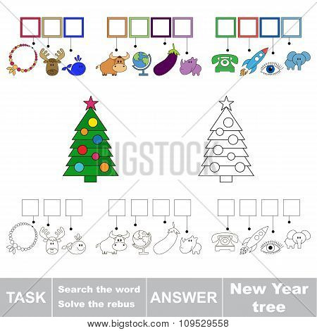 Vector game. Search the word. Find hidden word New year tree