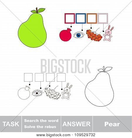 Vector game. Search the word. Find hidden word Pear
