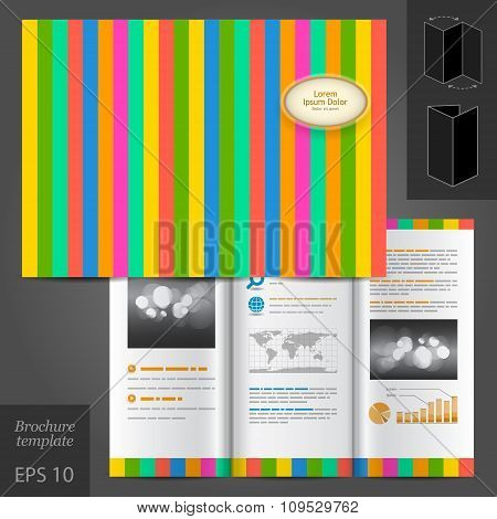 Color Brochure Template Design With Stripes