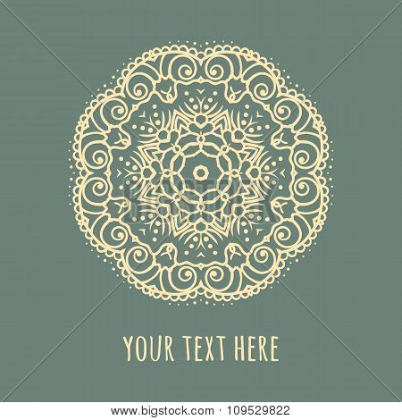 Hand drawn Boho style frame on a teal background with a place for your text. Circle Boho wreath for