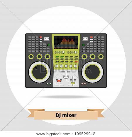 DJ mixer table isolated vector