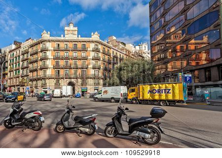 BARCELONA, SPAIN - JANUARY 13, 2015: City center view of Barcelona - capital city of Catalonia, second most populated in Spain, one of the world's leading tourist, economic, and cultural centers.