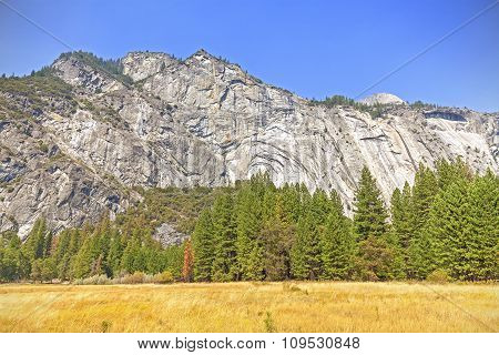 Mountain Landscape In Yosemite National Park, Usa