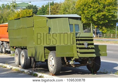 KIEV, UKRAINE - September 08, 2015: Improvised armored fighting vehicle for Civil War. Model Shush-Panzer