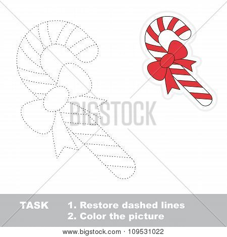 Xmas candy cane to be traced. Vector trace game.