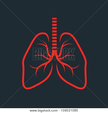 Symbolic human lungs silhouette - fluorography photo