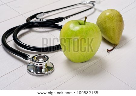Apple And Pear With Stethoscope