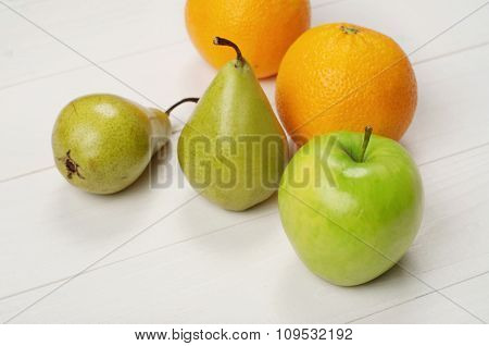 Ripe Green Apple, Oranges With Pears
