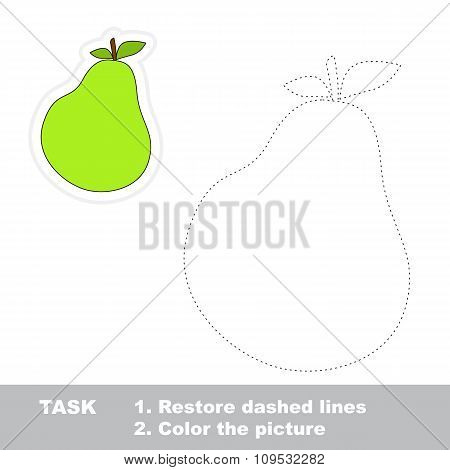 Pear to be traced. Vector trace game.