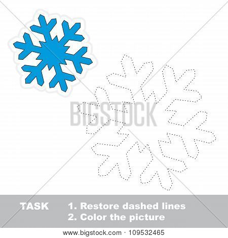 Snowflake to be traced. Vector trace game.