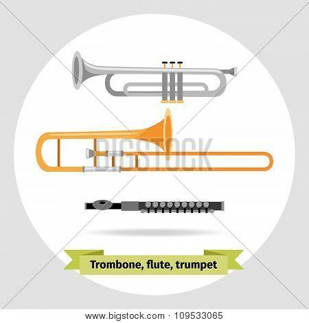 Musical instruments: trumpet, trombone, flute