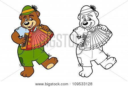 Coloring Book For Children: Bear And Accordion
