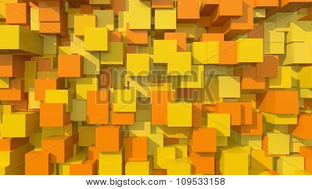 3D Orange Area Background Cube Abstract Pattern