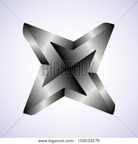 Triangle optical illusion black and white on a white background. Vector illustration