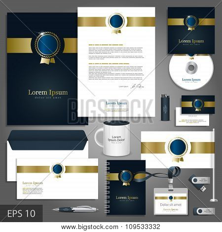 Corporate Identity Template With Golden Element