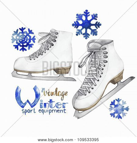 Vintage watercolor ice skates