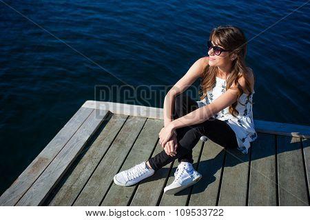 Woman having a city break