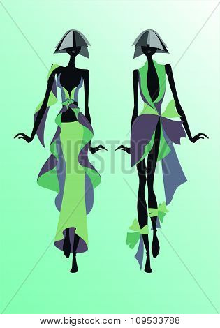 Sketches of clothes in shades green