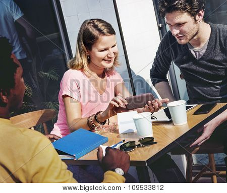 People Talking Digital Tablet Technology Friends Togetherness Concept