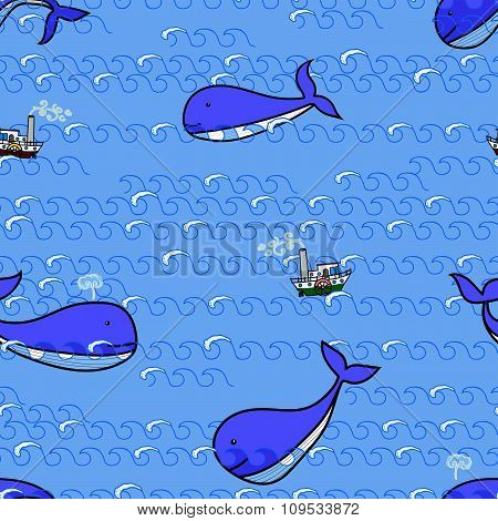 whales and ship