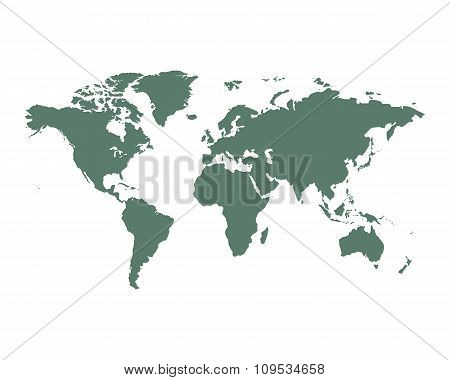 World Map political green on an isolated background. Vector illustration EPS-10