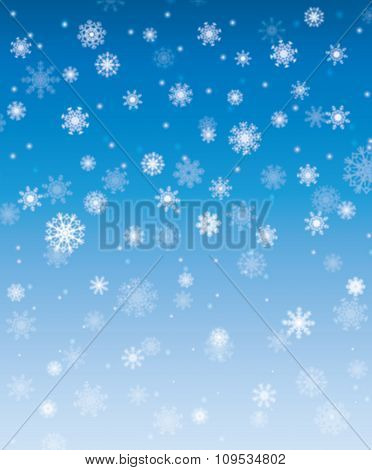 Falling Snow Christmas Card. Winter Abstract Background Illustration.