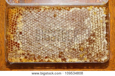 Boxes With Honey In Honeycomb