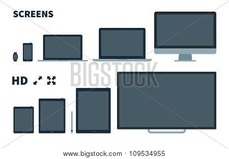 Flat TV screen, phone, monitor, laptop, tablet and watch with Full screen icons