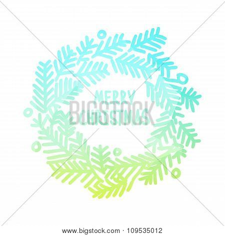 Neon bright square design with gradient Christmas wreath