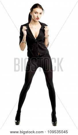 slender brunette girl removes a business suit