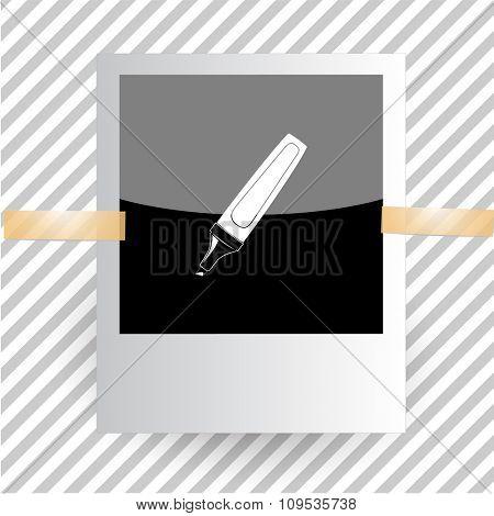 felt pen. Photoframe. Raster icon.