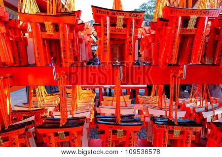 Small Torii Gates With Written Wishes And Offerings Made Of Small Wooden Tore Gates Fushimi Inari Sh