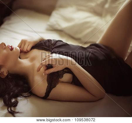 Sexy beautiful girl in sensual underclothes