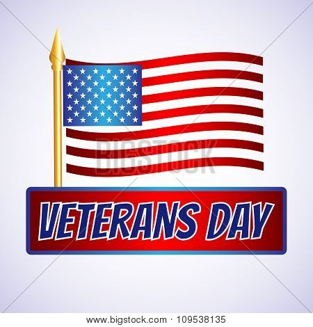 Happy veterans day flag vector illustration design over a white background 3d