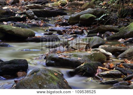 Mountain Stream Flowing Over Rocky Ground Making Cascades
