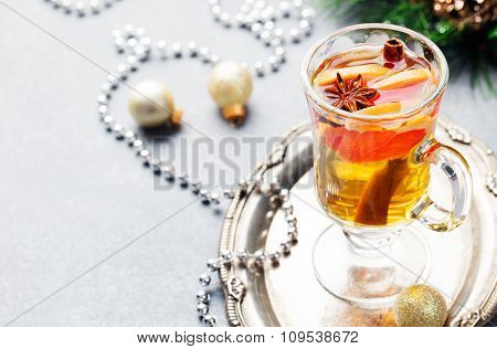 Mulled white wine with grapefruit Christmas, New Year background