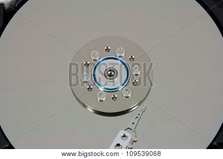 Close Up Of Hard Disk Drive Inside