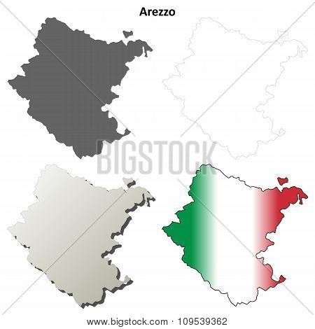 Arezzo blank detailed outline map set