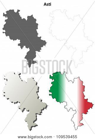 Asti blank detailed outline map set